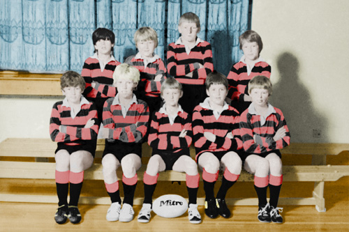 Football team photo restoration - after