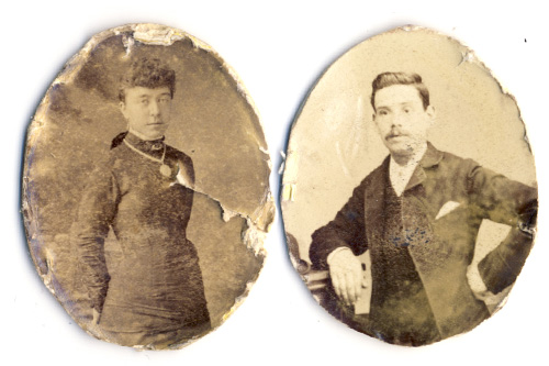 Old locket photo restoration - before